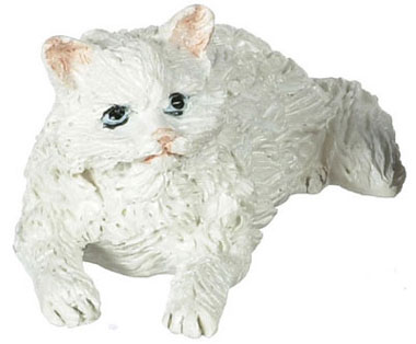 Dollhouse Miniature Lying White Persian Cat