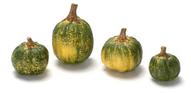 Dollhouse Miniature Green Pumpkin Set Of 4