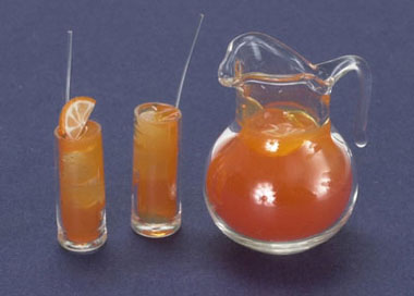 Dollhouse Miniature Orange Juice W/2 Glasses, 2 Set