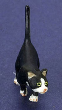 "Dollhouse Miniature 1/2"" Scale Cat, Black"