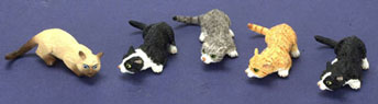Dollhouse Miniature Sniffing Cat, Gray