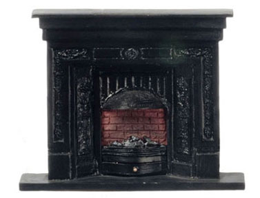 Dollhouse Miniature Fireplace, Medium, Black