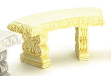 Dollhouse Miniature Curved Bench, 2Pc Ivory