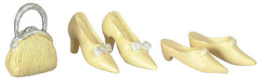 Dollhouse Miniature Shoes, 2 Pairs, W/Purse, Beige