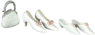 Dollhouse Miniature Shoes/2 Pairs/ W/Purse / White