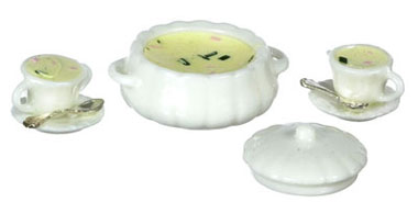 Dollhouse Miniature Clam Chowder Soup Set