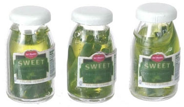 Dollhouse Miniature Sweet Pickle, 3Pc