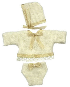 Dollhouse Miniature Baby Clothes/Beige W/Hat