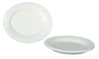 Dollhouse Miniature Oval Plate, Style Q, 2Pc