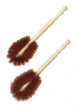 Dollhouse Miniature Toilet Scrubber, Brown, 2 Pc