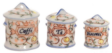 Dollhouse Miniature Round Canister, Set Of 3
