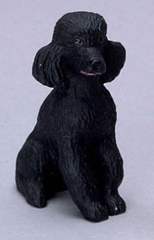 Dollhouse Miniature Poodle, Black