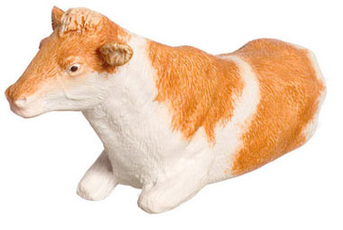 Dollhouse Miniature Cow, Laying, Brown 1/2In
