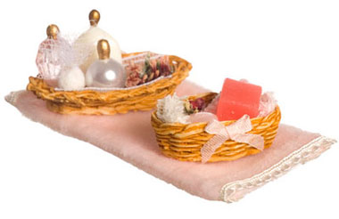 Dollhouse Miniature Bathroom Accessories, Pink