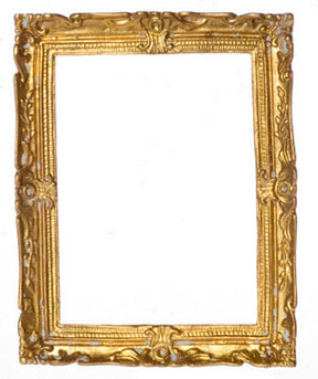 "Dollhouse Miniature Gold Plated Frame, 2 5/8 X 3 1/4"", Antique"