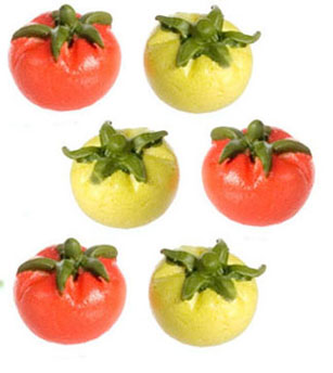 Dollhouse Miniature Green & Red Tomatoes, 6Pc