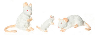 Dollhouse Miniature Mice Set Of 3/White
