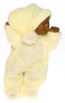 Dollhouse Miniature Brown Baby, Yellow
