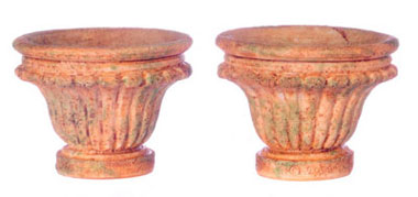 Dollhouse Miniature Round Planter, Xl, Aged, 2 Pcs