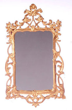 Dollhouse Miniature Victorian Mirror, Gold Plated
