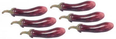 Dollhouse Miniature Eggplant, 6 Pc
