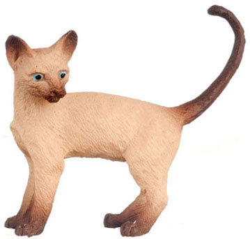 Dollhouse Miniature Cat, Siamese