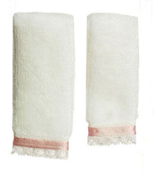 Dollhouse Miniature Towel Set, White W/Pink Ribbon