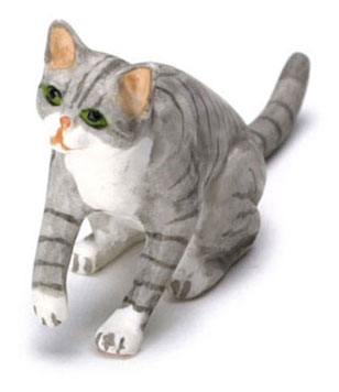 Dollhouse Miniature Cat, Grey