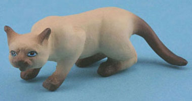 Dollhouse Miniature Cat, Siamese Brown