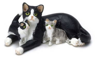 Dollhouse Miniature Mother & Babies Cat, Black/White
