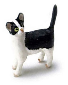 Dollhouse Miniature Kitten, Black/White