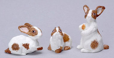 Dollhouse Miniature Rabbit Set Of 3/Brown + White