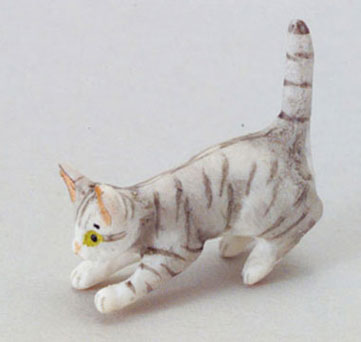 Dollhouse Miniature Kitten, Gray