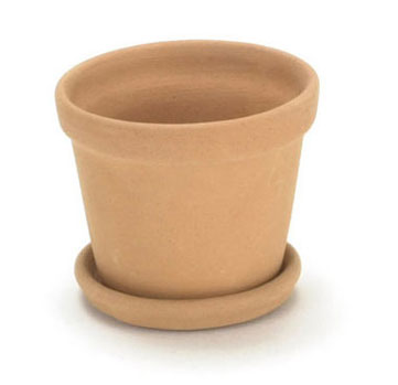 Dollhouse Miniature X-Large Clay Pot W/Saucer (Xl)