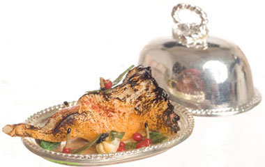 Dollhouse Miniature Leg Of Lamb On Metal Tray
