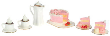 Dollhouse Miniature Strawberry Cake W/Hot Coco For Two