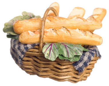 Dollhouse Miniature French Bread In Basket