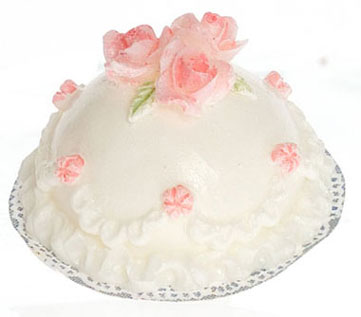 Dollhouse Miniature Round White Cake W/Pk Roses, 2Pc