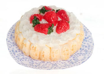 Dollhouse Miniature Lady Finger Strawberry Cake, 2Pc