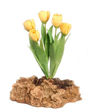 Dollhouse Miniature Tulips Plant On The Rock, Yellow