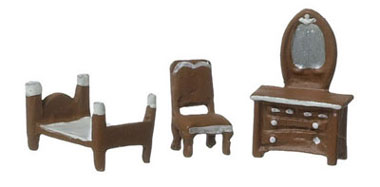 Dollhouse Miniature Brown Bedroom Set