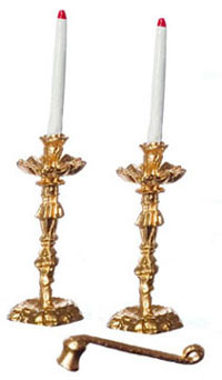 Dollhouse Miniature Candlesticks W/Candles & Snuffer