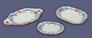 Dollhouse Miniature 3 Pc Dinner Set Blue & Pink