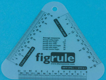 Dollhouse Miniature Three Scale Ruler, Inches