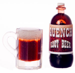 Dollhouse Miniature Quench Root Beer/Mug