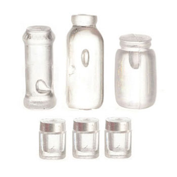 Dollhouse Miniature Assorted Bottles And Jars, 6/Pk