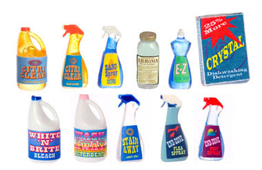 Dollhouse Miniature Cleaning Products, Plastic, Assortment/12