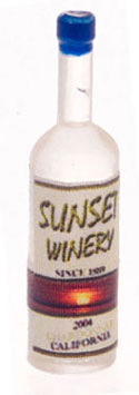 Dollhouse Miniature Sunset White Wine Bottles