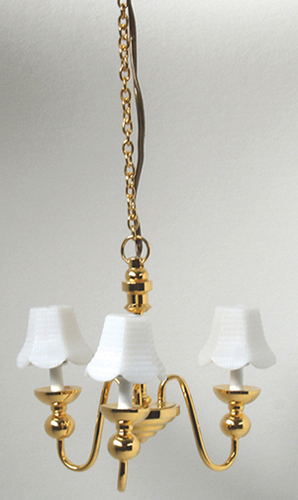 Dollhouse Miniature 3 Up-Arm Chandelier W/White Shade