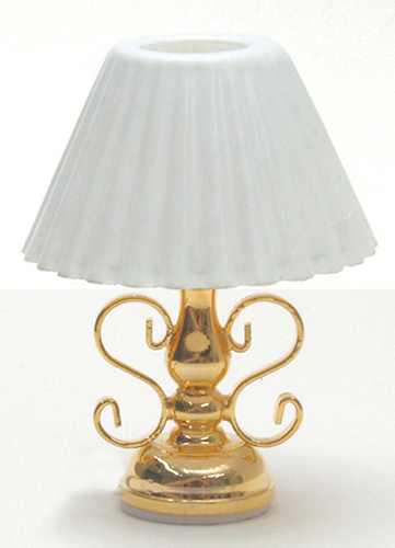 Dollhouse Miniature Brass Table Lamp W/Fluted Shade